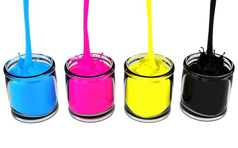CMYK pouring paint